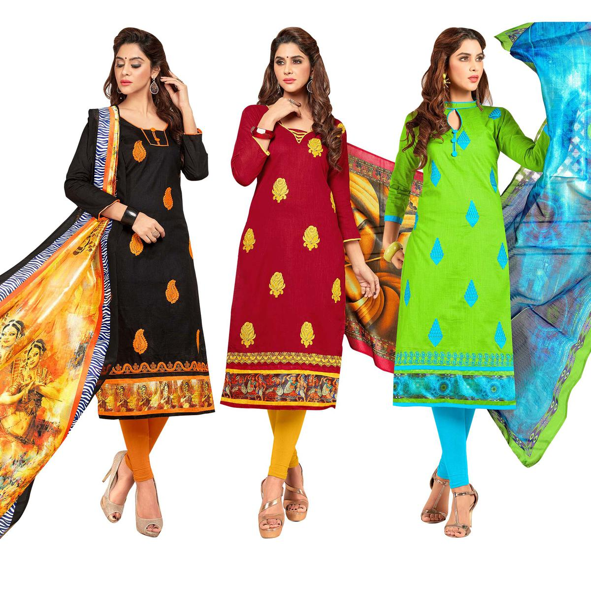 Starring Partywear Embroidered Cotton Suit - Pack of 3