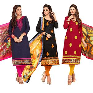 Amazing Partywear Embroidered Cotton Suit - Pack of 3