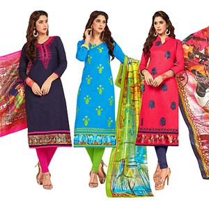 Irresistible Partywear Embroidered Cotton Suit - Pack of 3