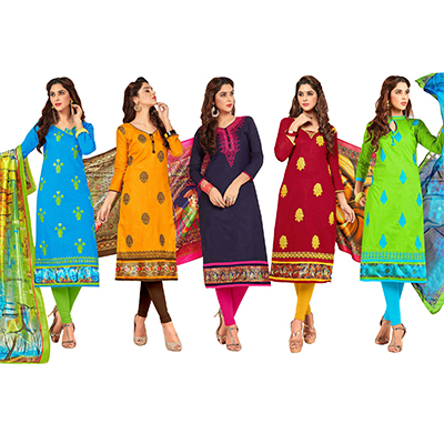 Trendy Partywear Embroidered Cotton Suit - Pack of 5