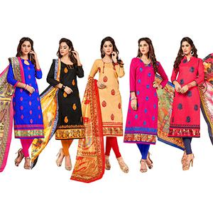 Magnetic Partywear Embroidered Cotton Suit - Pack of 5