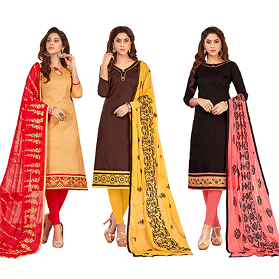 Flattering Casual Wear Cotton Suit - Pack of 3