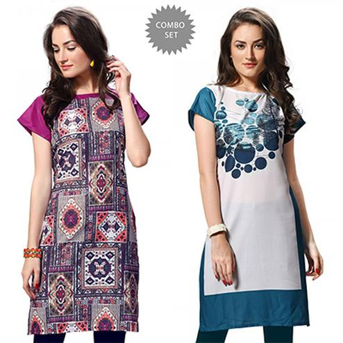 Precious Multi And White Casual Wear Printed Kurti - Pack of 2