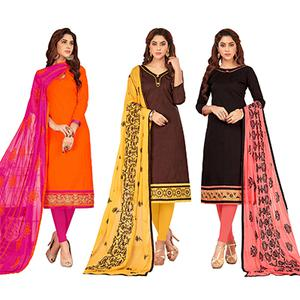 Adorning Casual Wear Cotton Suit - Pack of 3