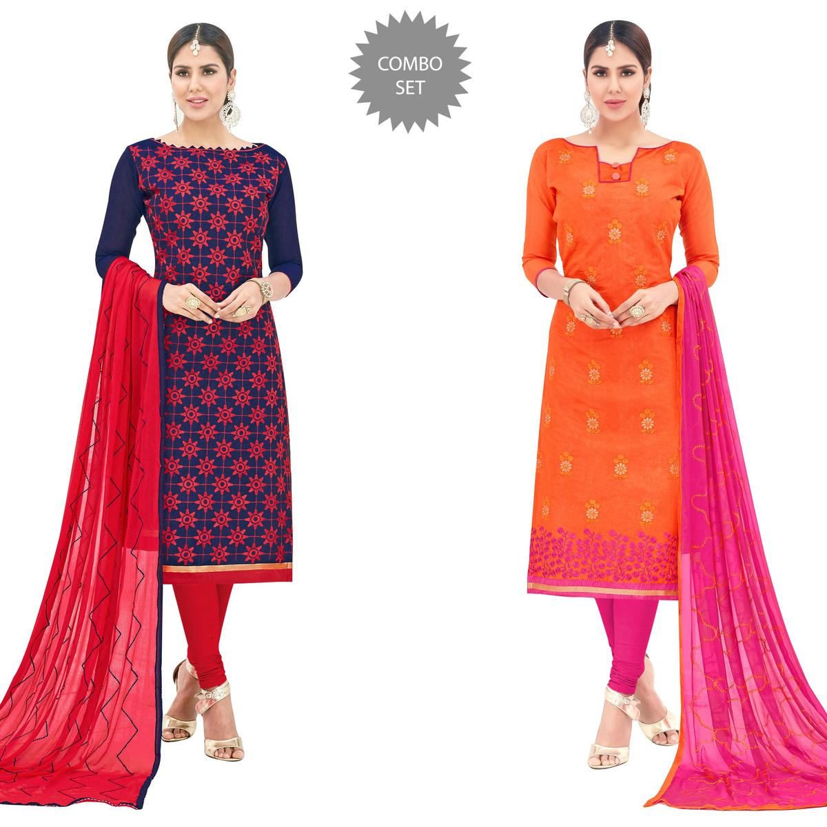 Beautiful Partywear Embroidered Cotton Suit - Pack of 2