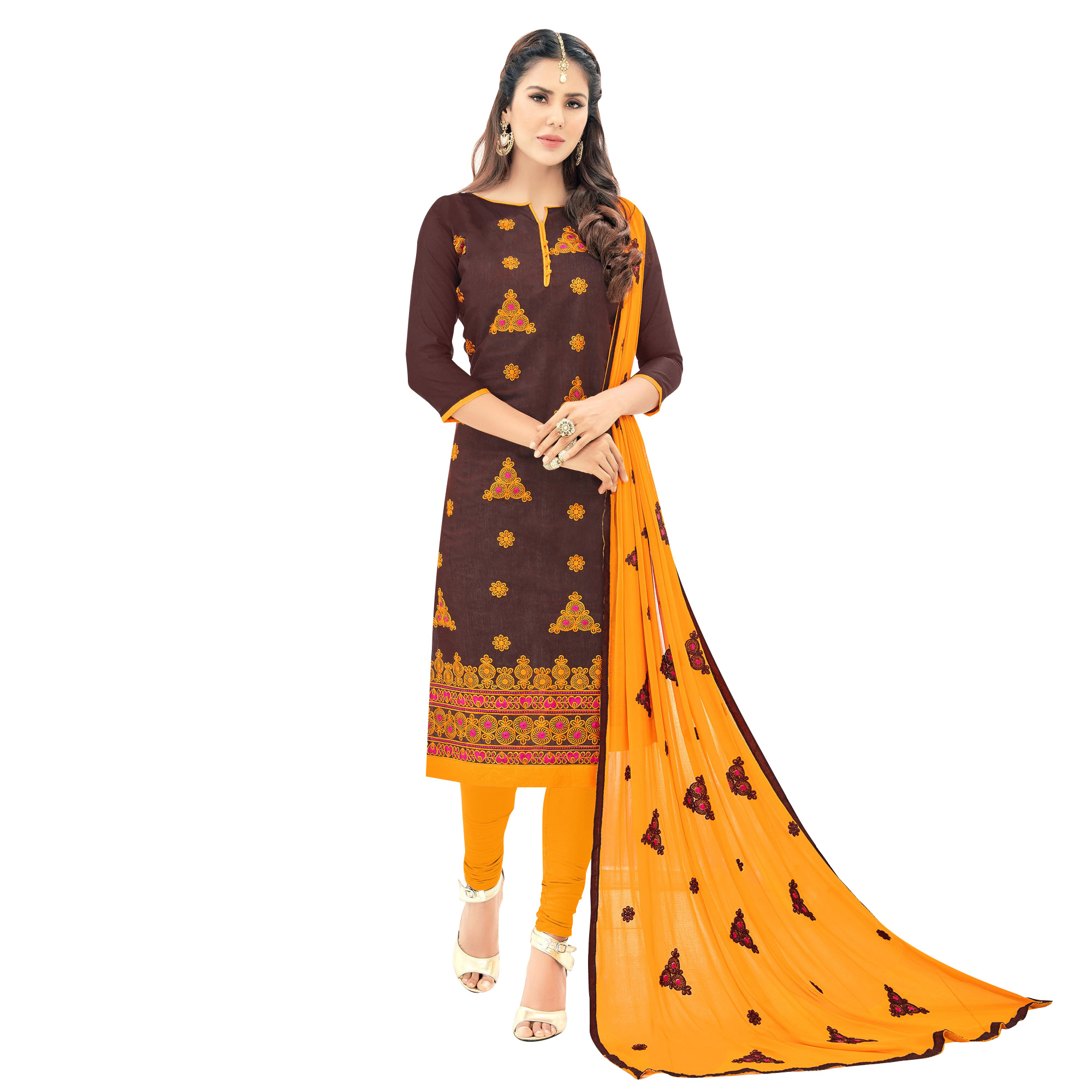 Demanding Partywear Embroidered Cotton Suit - Pack of 2