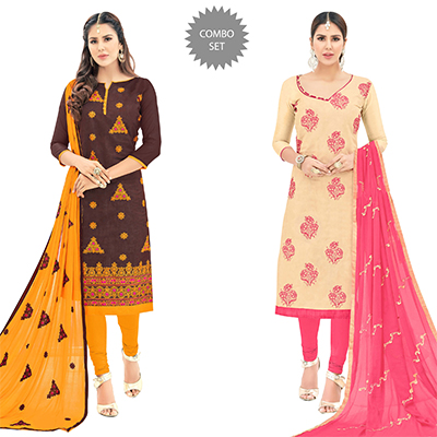 Attractive Partywear Embroidered Cotton Suit - Pack of 2