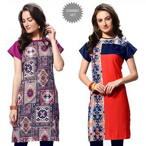 Graceful Multi And Red Casual Wear Printed Kurti - Pack of 2