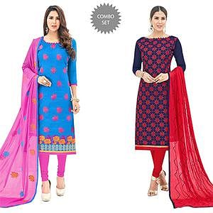 Opulent Partywear Embroidered Cotton Suit - Pack of 2