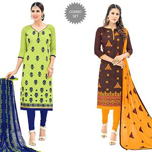 Irresistible Partywear Embroidered Cotton Suit - Pack of 2