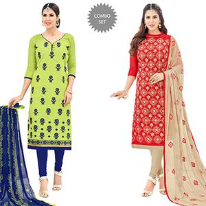 Fantastic Partywear Embroidered Cotton Suit - Pack of 2