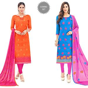 Pleasant Partywear Embroidered Cotton Suit - Pack of 2