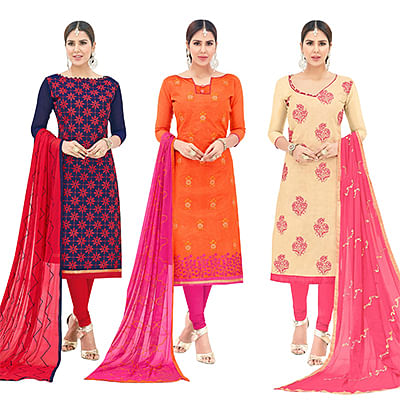 Engrossing Partywear Embroidered Cotton Suit - Pack of 3