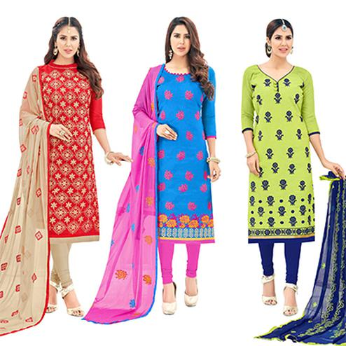 Lovely Partywear Embroidered Cotton Suit - Pack of 3