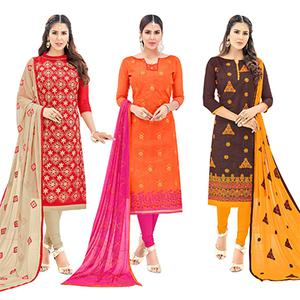 Blooming Partywear Embroidered Cotton Suit - Pack of 3
