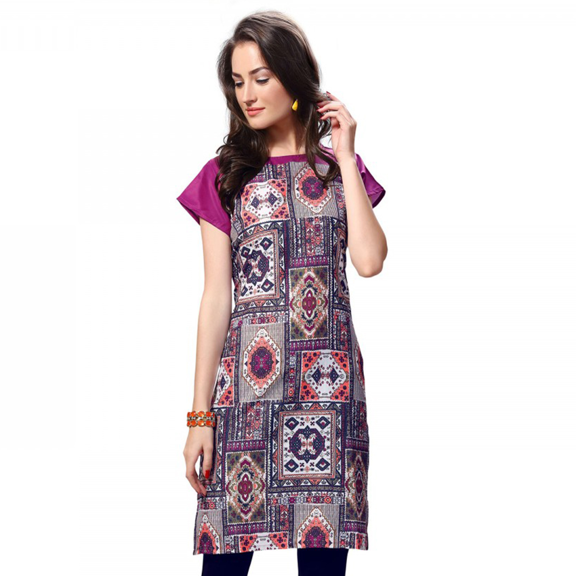 Appealing Multi And White Casual Wear Printed Kurti - Pack of 2