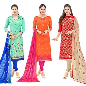 Gleaming Partywear Embroidered Cotton Suit - Pack of 3