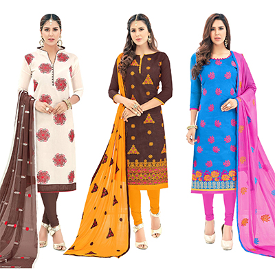 Groovy Partywear Embroidered Cotton Suit - Pack of 3