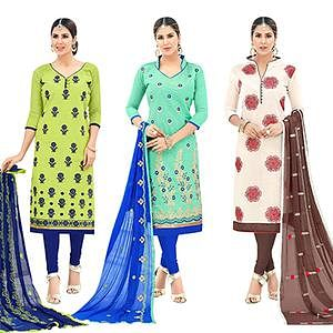 Stylish Partywear Embroidered Cotton Suit - Pack of 3