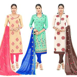 Flattering Partywear Embroidered Cotton Suit - Pack of 3