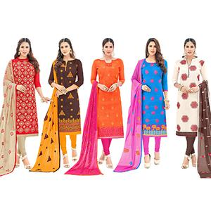 Staring Partywear Embroidered Cotton Suit - Pack of 5