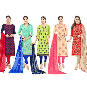 Majestic Partywear Embroidered Cotton Suit - Pack of 5