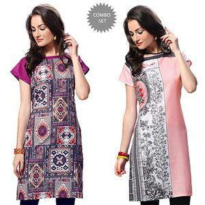 Stylish Multi And Pink Casual Wear Printed Kurti - Pack of 2