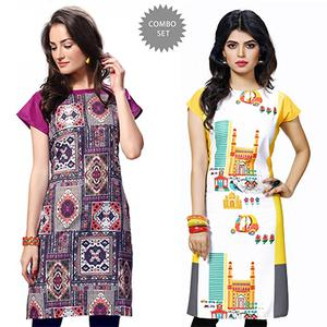 Attractive Multi And Yellow Casual Wear Printed Kurti - Pack of 2
