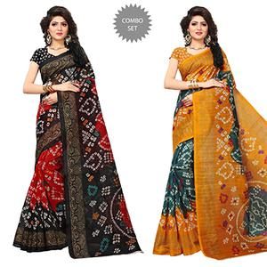 Elegant Printed Festive Wear Bhagalpuri Silk Saree - Pack of 2