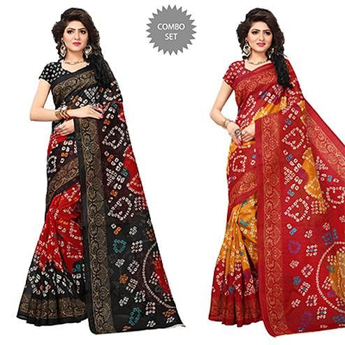 Mesmerising Printed Festive Wear Bhagalpuri Silk Saree - Pack of 2