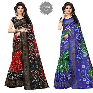 Glowing Printed Festive Wear Bhagalpuri Silk Saree - Pack of 2
