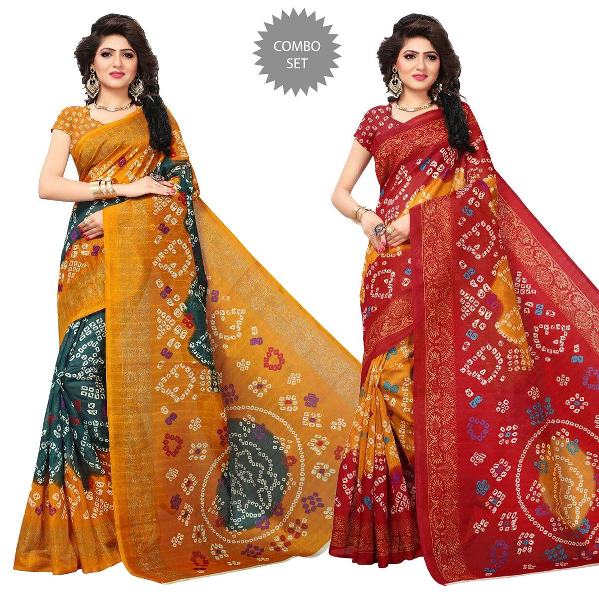 Mesmeric Printed Festive Wear Bhagalpuri Silk Saree - Pack of 2