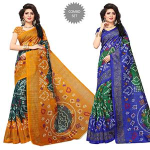 Attractive Printed Festive Wear Bhagalpuri Silk Saree - Pack of 2