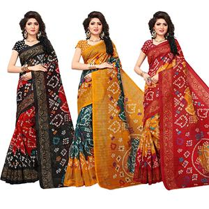 Trendy Printed Festive Wear Bhagalpuri Silk Saree - Pack of 3
