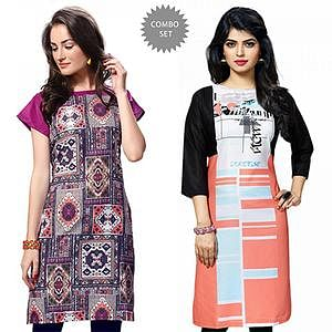 Gorgeous Multi Colored Casual Wear Printed Kurti - Pack of 2