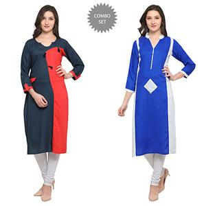 Demanding Casual Wear Pure Rayon Kurti - Pack of 2