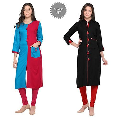 Refreshing Casual Wear Pure Rayon Kurti - Pack of 2