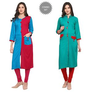 Impressive Casual Wear Pure Rayon Kurti - Pack of 2