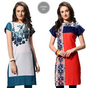 Ravishing White And Red Casual Wear Printed Kurti - Pack of 2