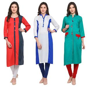 Lovely Casual Wear Pure Rayon Kurti - Pack of 3