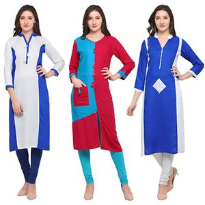 Attractive Casual Wear Pure Rayon Kurti - Pack of 3