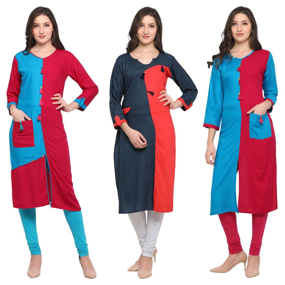 Flaunt Casual Wear Pure Rayon Kurti - Pack of 3