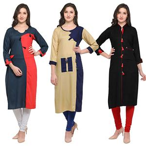 Groovy Casual Wear Pure Rayon Kurti - Pack of 3