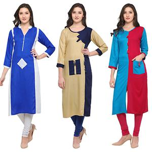 Blooming Casual Wear Pure Rayon Kurti - Pack of 3