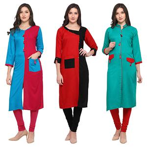 Mesmeric Casual Wear Pure Rayon Kurti - Pack of 3