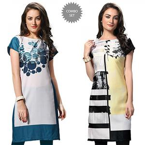 Appealing White Casual Wear Printed Kurtis - Pack of 2