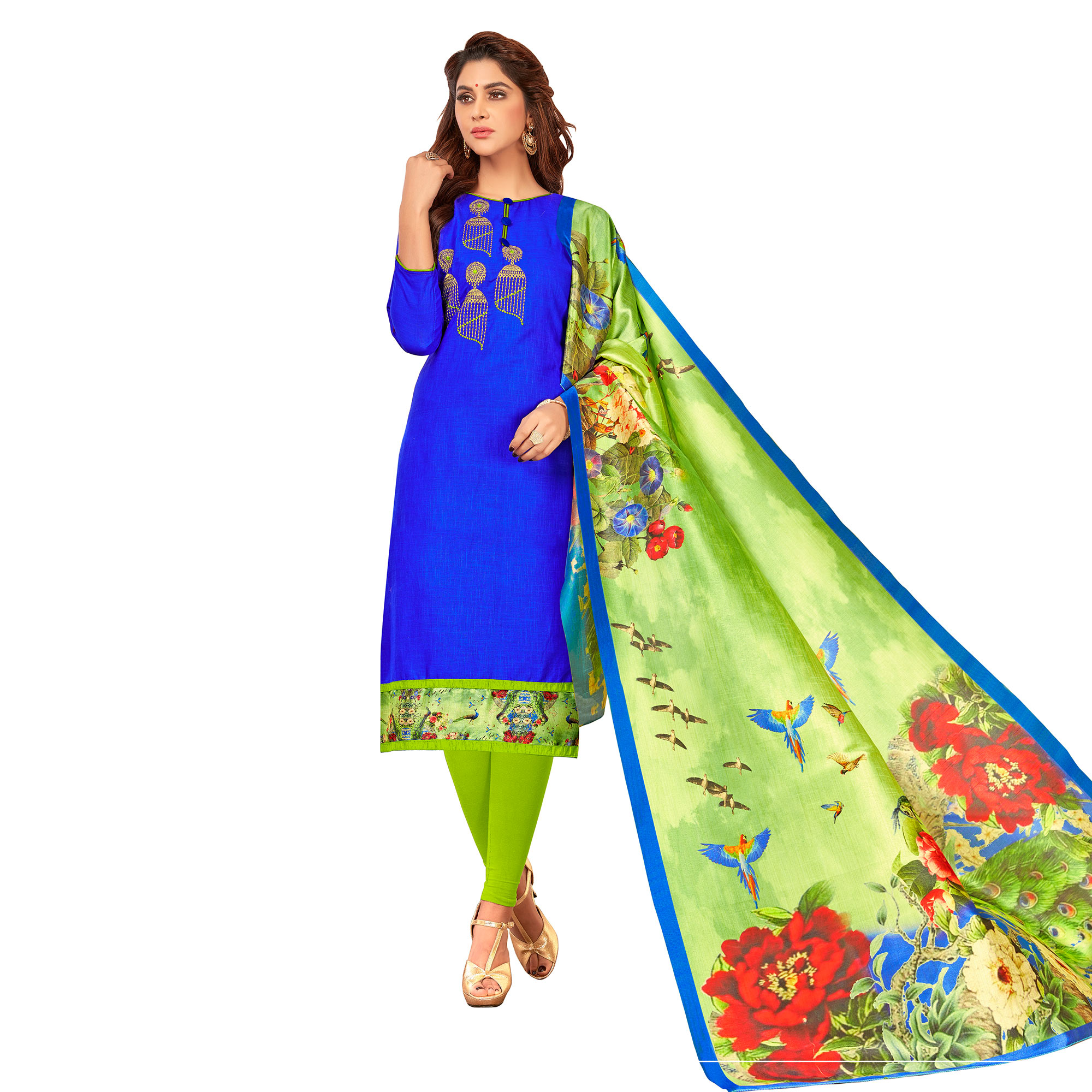 Arresting Partywear Embroidered Cotton Suit - Pack of 2