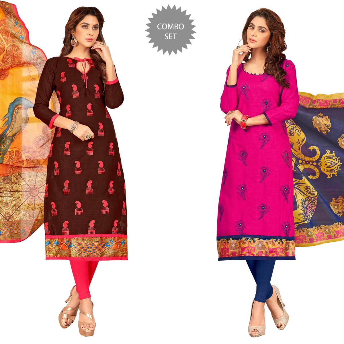 Glowrious Partywear Embroidered Cotton Suit - Pack of 2