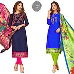 Gleaming Partywear Embroidered Cotton Suit - Pack of 2