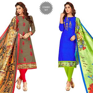 Refreshing Partywear Embroidered Cotton Suit - Pack of 2